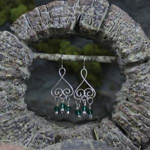 Green Swarovski Crystal Handmade Ear Wire